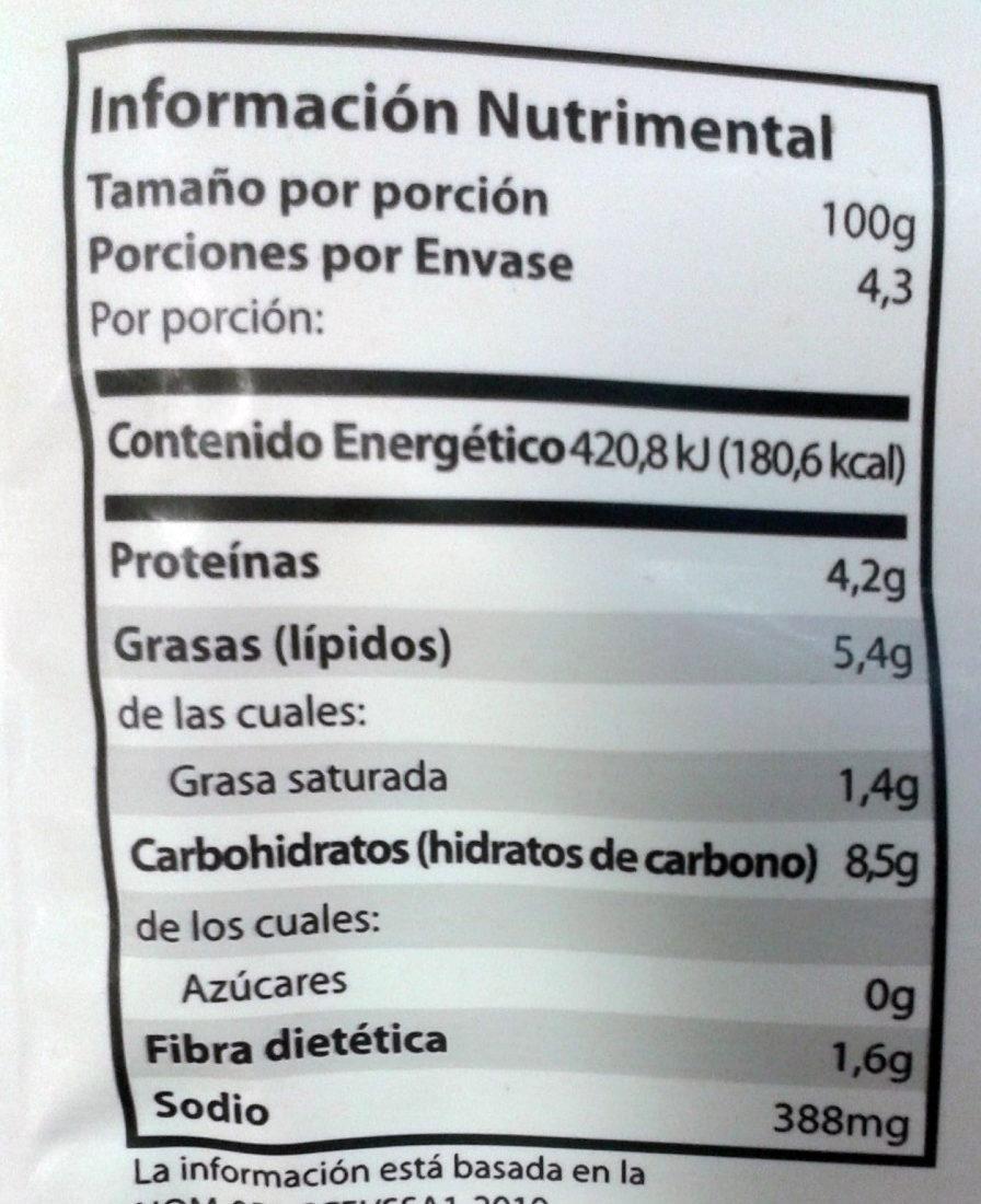 Frijoles refritos con chorizo ranchero Chata - Voedingswaarden