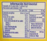 Margarina sin sal Primavera - Voedingswaarden