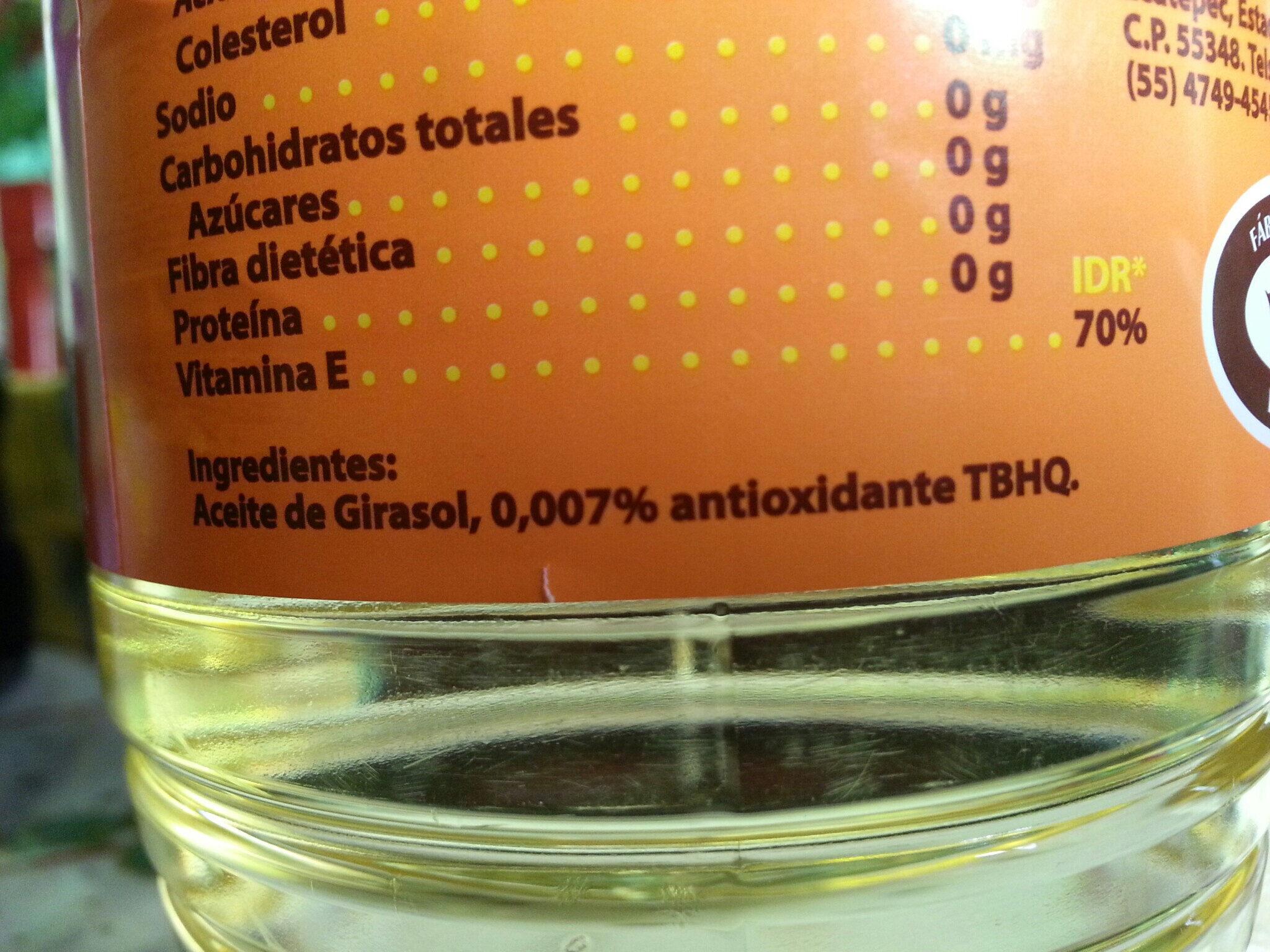 Aceite Vegetal Comestible 1-2-3 - Ingrediënten