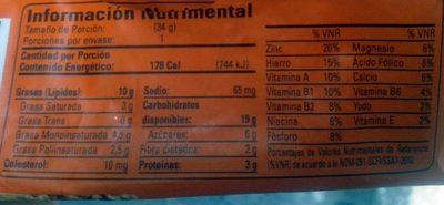 Barra Multigrano Nuez 34GR. - Informations nutritionnelles - fr