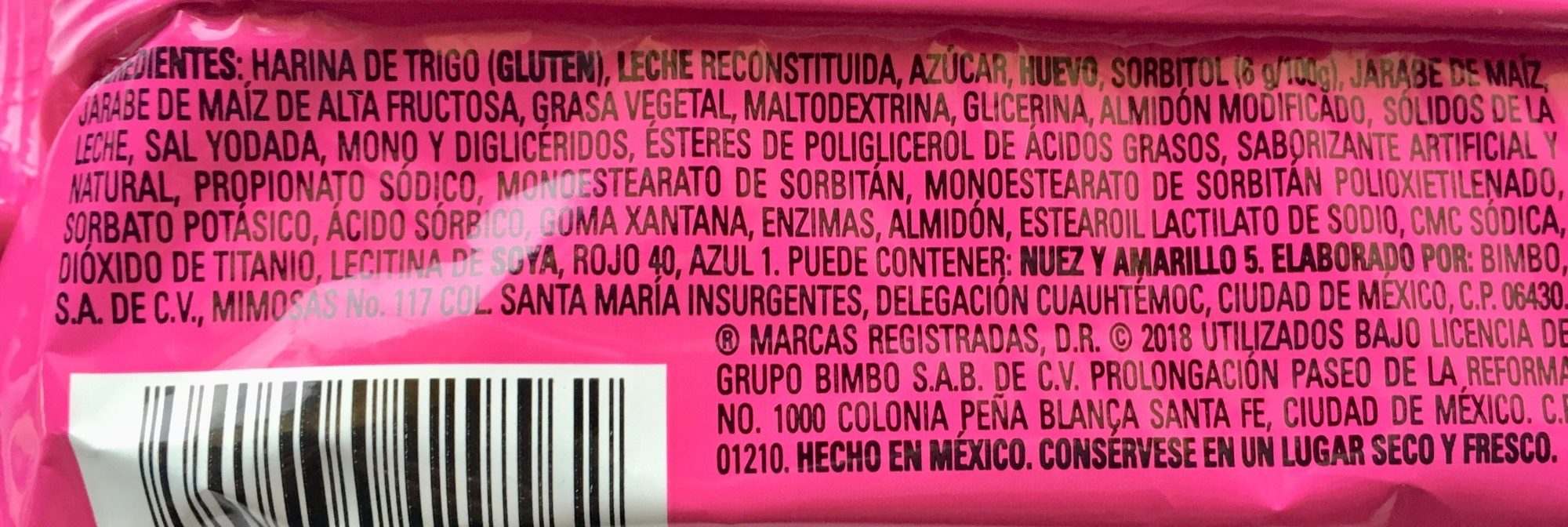 Pantera Rosa Marinela - Ingrediënten - es