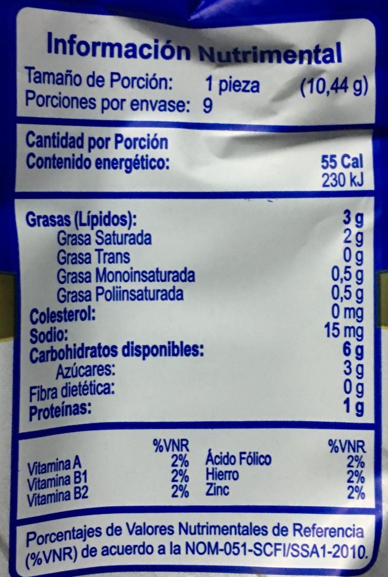 Pastisetas Suandy - Voedingswaarden - es