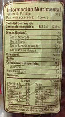 PANQUÉ CASERO Y MANTEQUILLA TÍA ROSA - Informations nutritionnelles - es