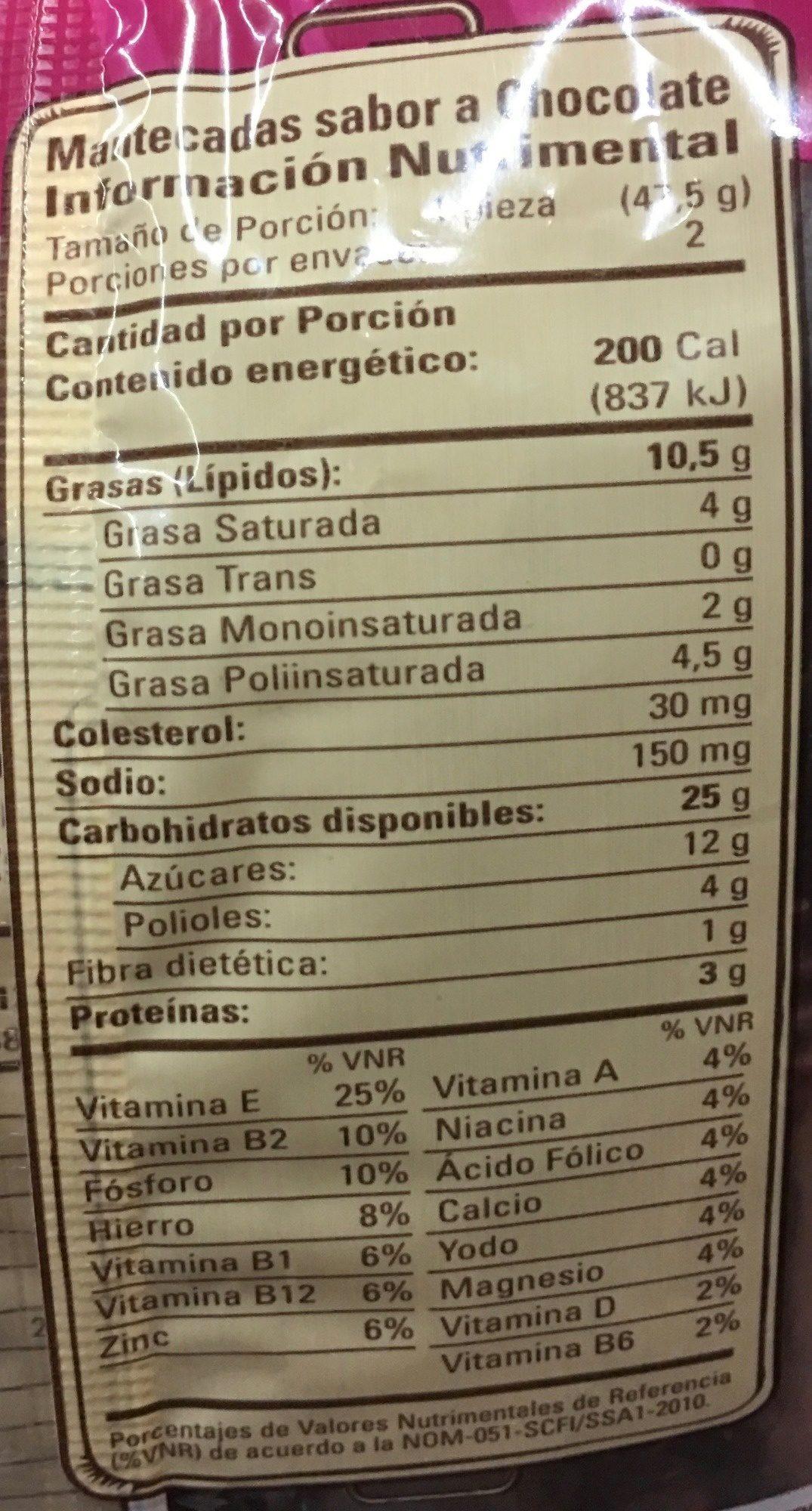 Mantecadas vainilla y chocolate - Nutrition facts