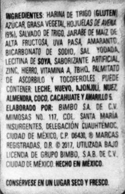 Galleta con avena - Ingrédients - es