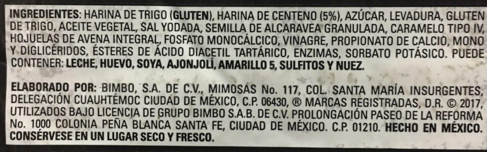 Pan con Centeno - Ingrédients - es