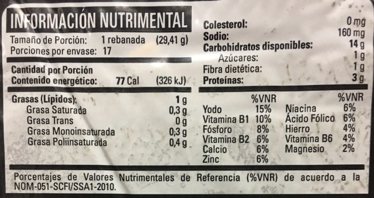Pan con Centeno - Informations nutritionnelles - es