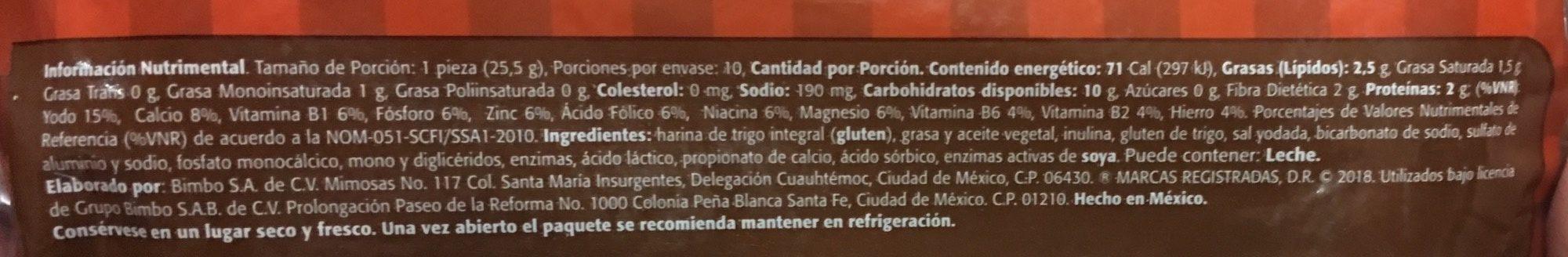 Tortillinas Integrales - Ingrédients - fr