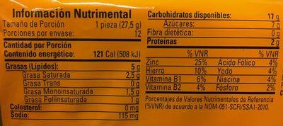 REBANADAS MULTIPACK 6 PIEZAS - Informations nutritionnelles - es