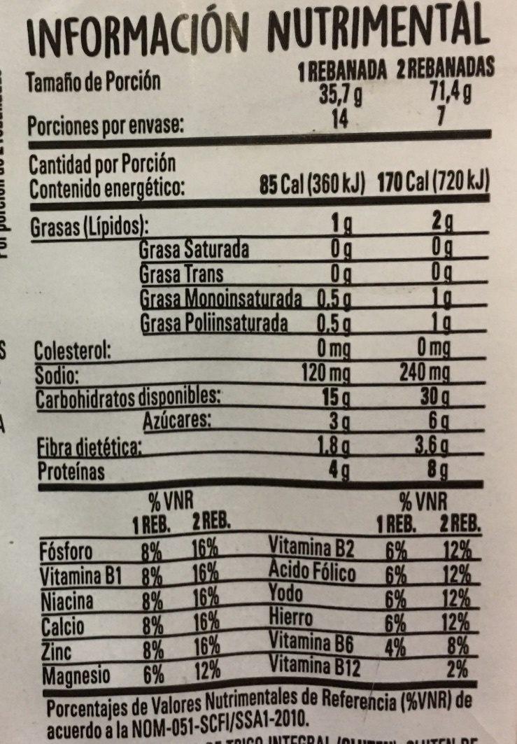 VITAL - Informations nutritionnelles - es