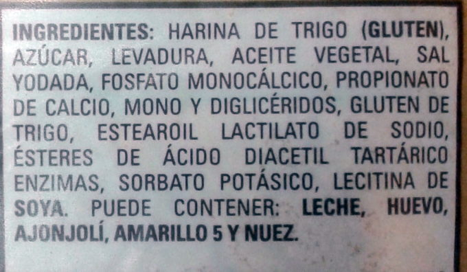 Pan artesano - Ingrédients - es