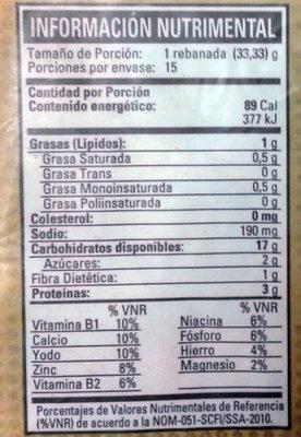 Pan artesano - Informations nutritionnelles - es