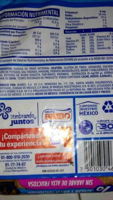 Pan de molde cero cero - Ingredients - en