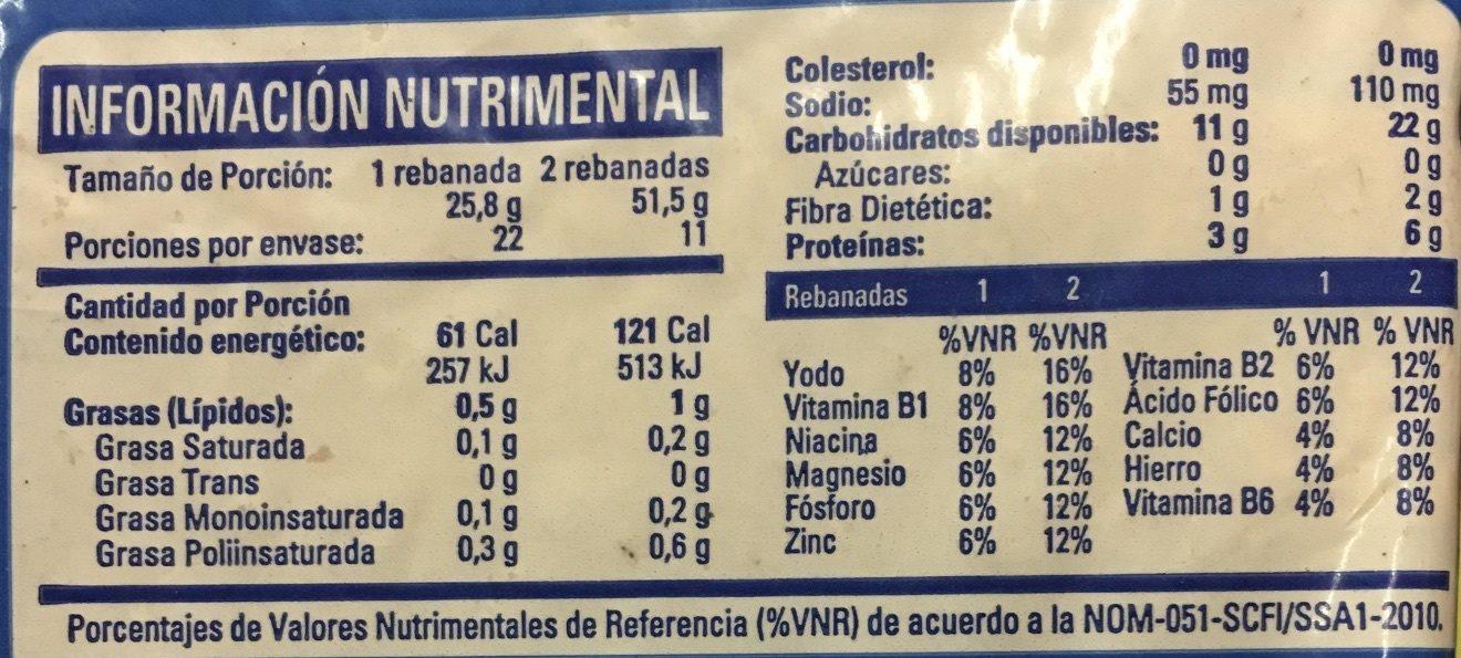 Pan de molde cero cero - Informations nutritionnelles - en