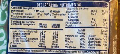 Pan Cero Azucar - Voedingswaarden - es