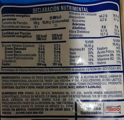 Pan de molde cero cero - Información nutricional - es
