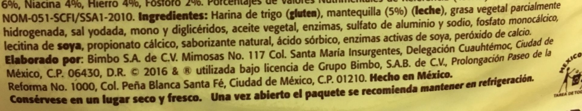 Tortillinas con Mantequilla - Ingrediënten - es