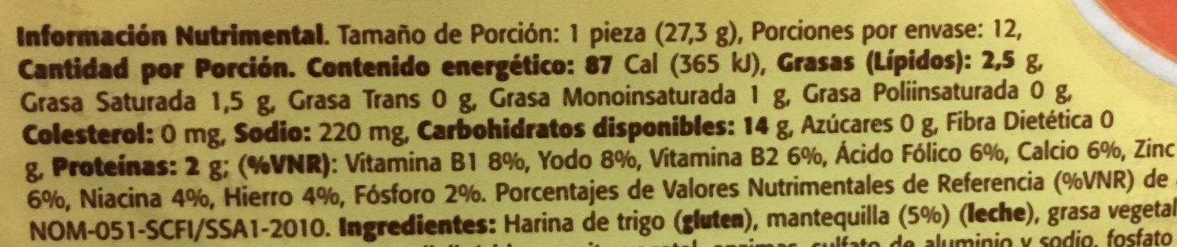 Tortillinas con Mantequilla - Voedingswaarden - es