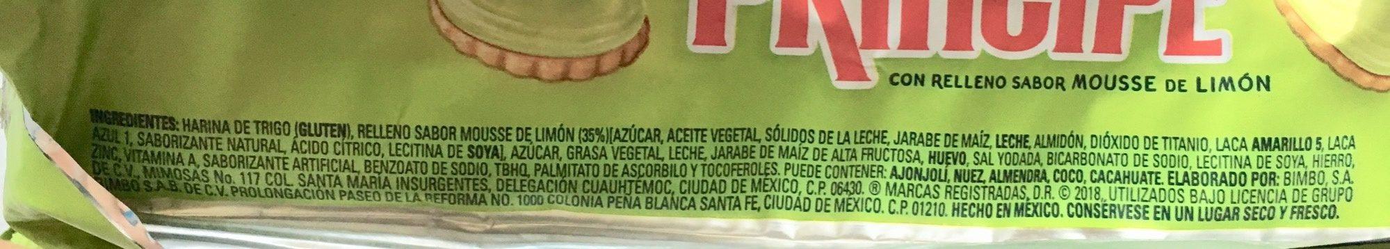 Galletas Príncipe Mousse de Limón Marinela - Ingrediënten - es