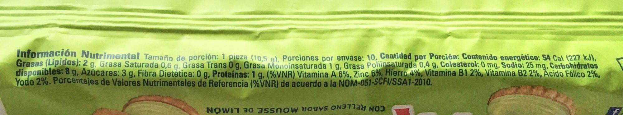 Galletas Príncipe Mousse de Limón Marinela - Voedingswaarden - es