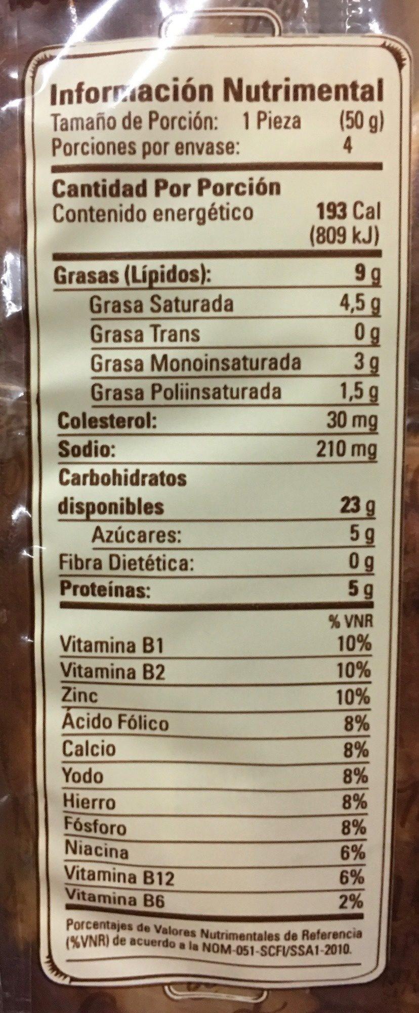 CUERNITOS REBANADOS TÍA ROSA - Informations nutritionnelles - es