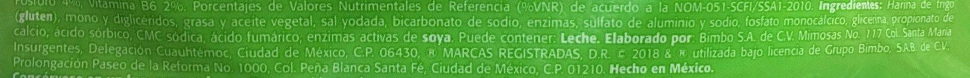 Tortillinas Ligeras - Ingrédients - es