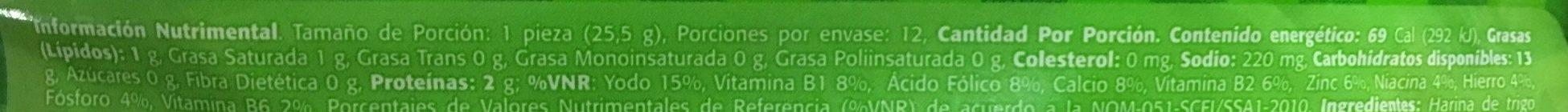 Tortillinas Ligeras - Informations nutritionnelles - es