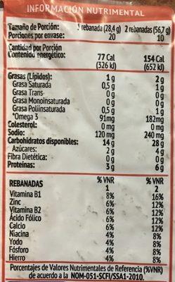 SuperPan Blanco - Informations nutritionnelles - es