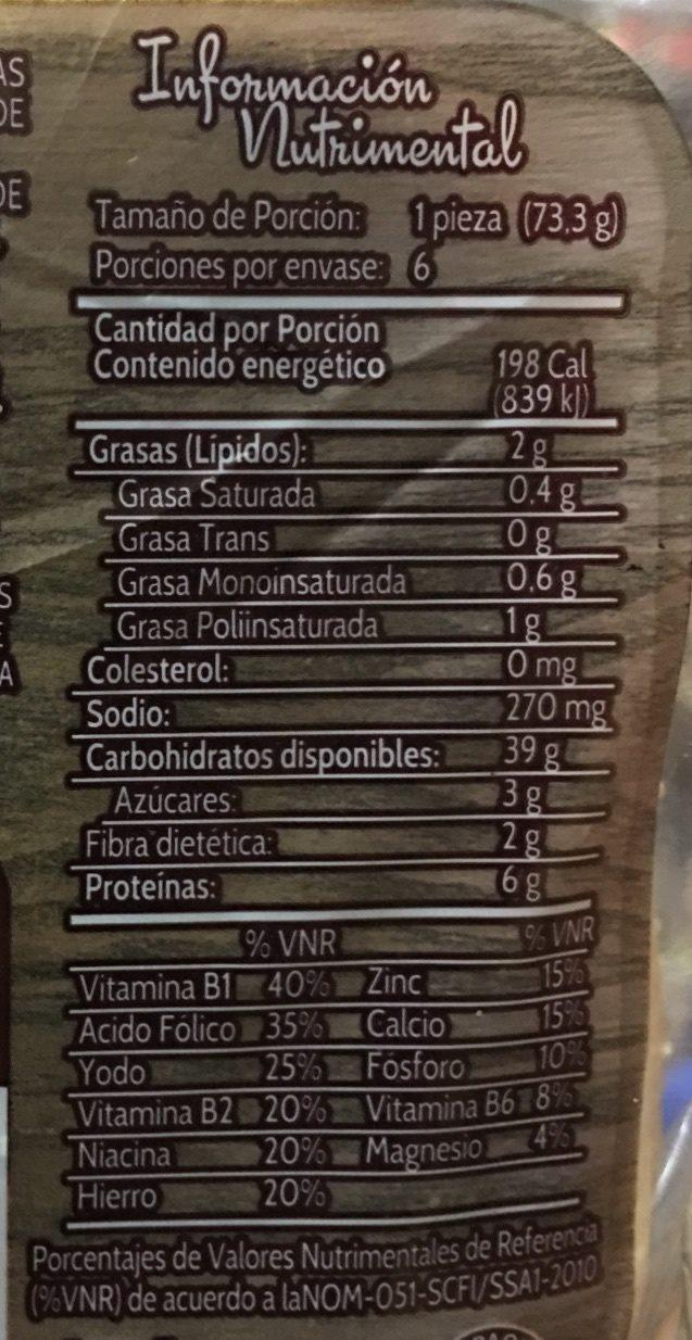 Deli con Avena - Informations nutritionnelles - es