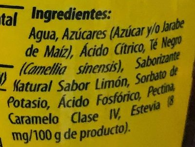 Lipton sabor limón - Ingrediënten