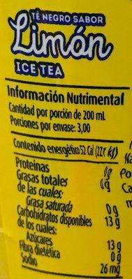 Lipton sabor limón - Voedingswaarden