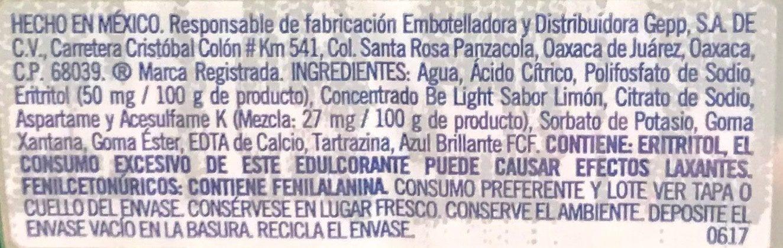 Belight Limón - Ingredients - es