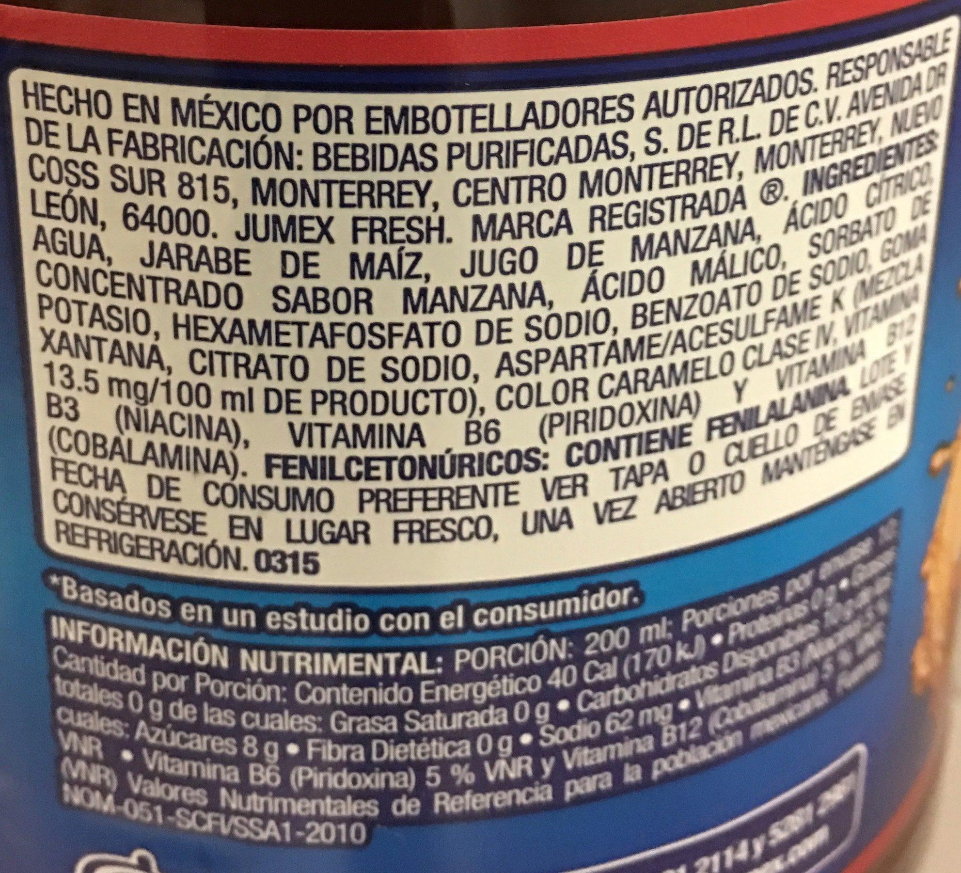 Jumex Fresh Manzana - Ingrédients