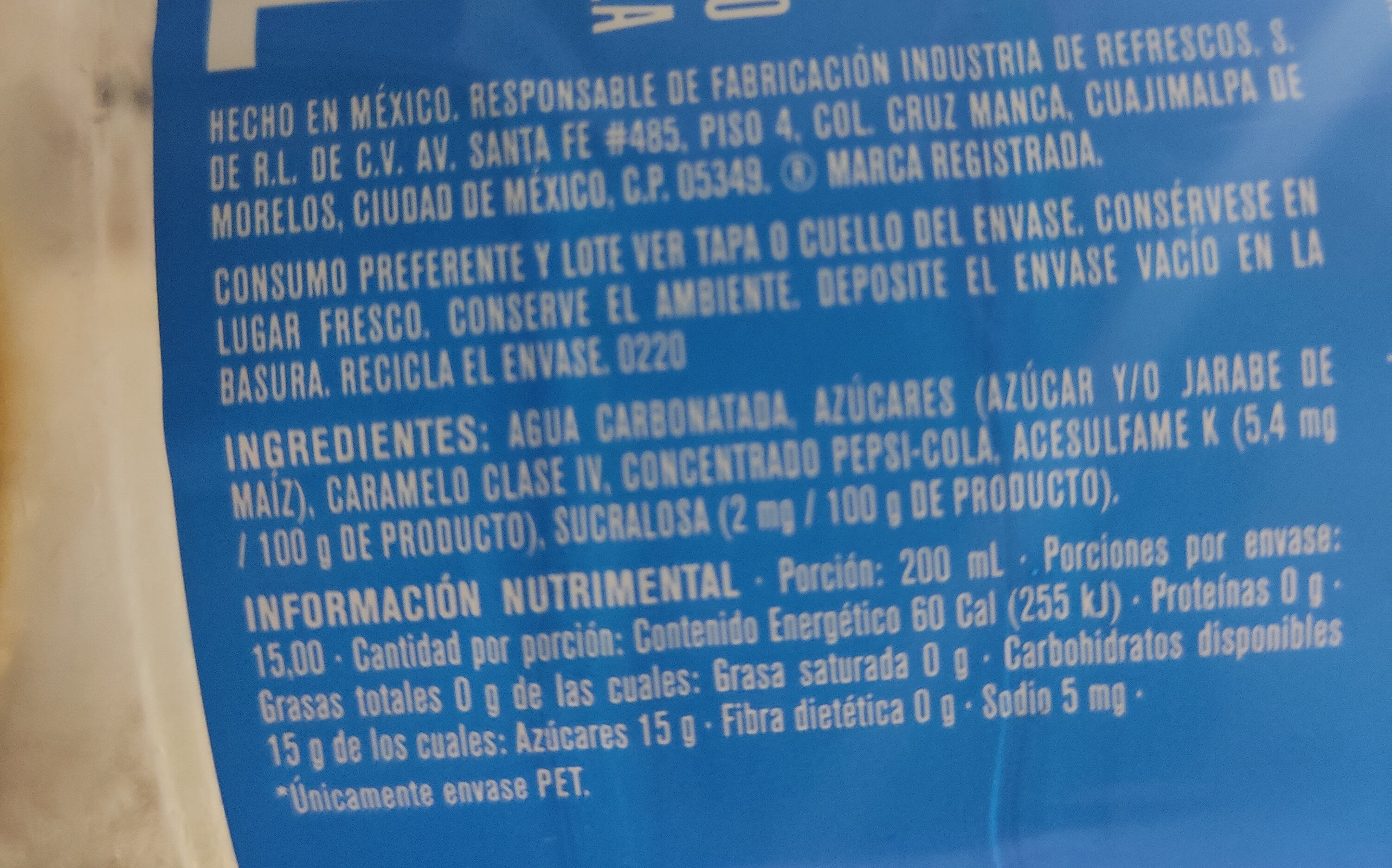 Pepsi - Ingredients - es