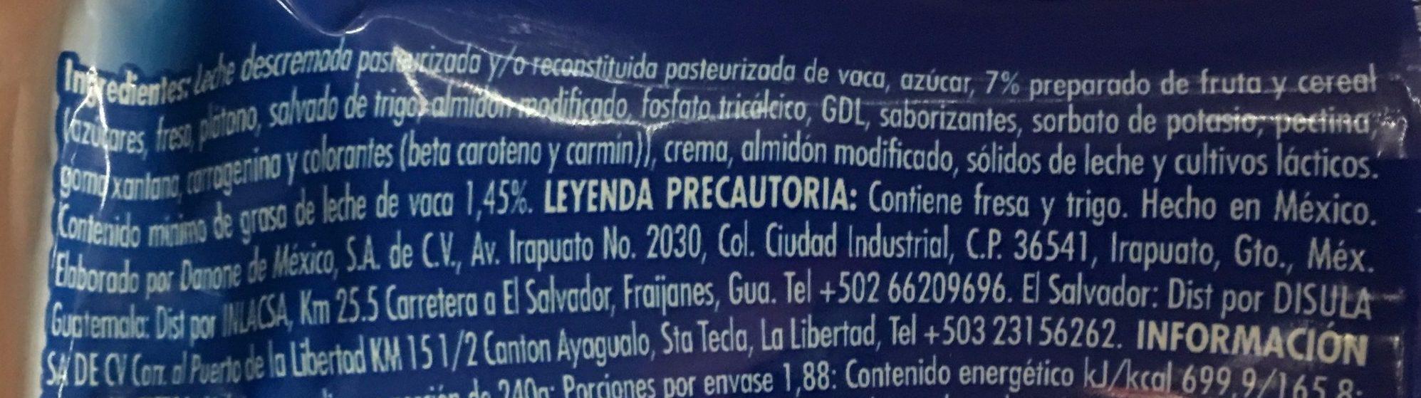LICUADO FRESA PLATANO Y CEREAL - Ingrediënten