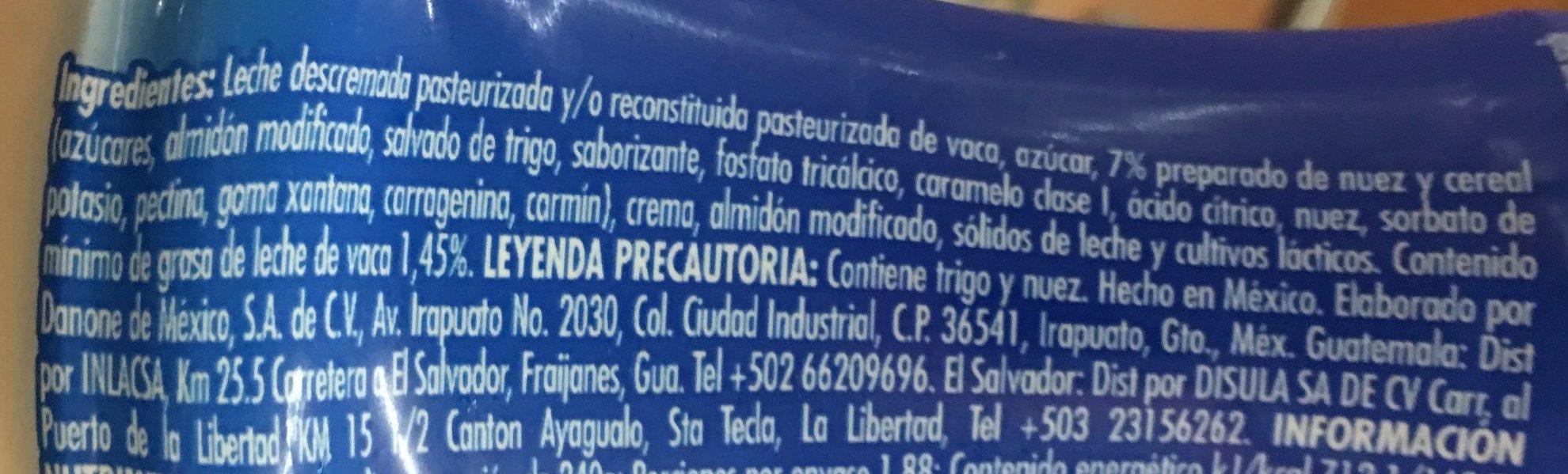 DanUp LICUADO NUEZ Y CEREAL - Ingrediënten