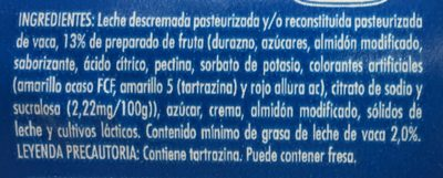 Danone Durazno - Ingrediënten
