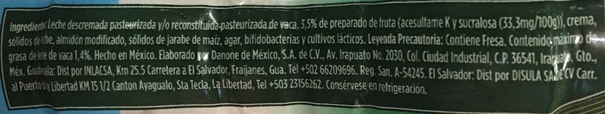 Activia Fresa Sin azúcar - Ingrediënten