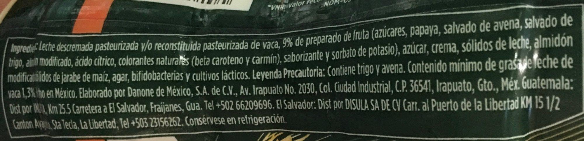Activia papaya y cereales Danone - Ingrediënten - es