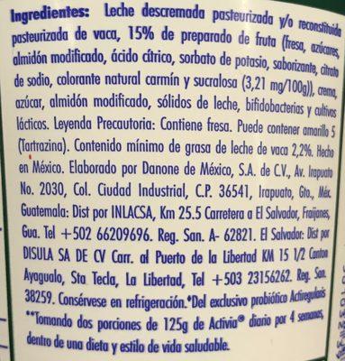 Activia Fresa Danone - Ingrediënten - es