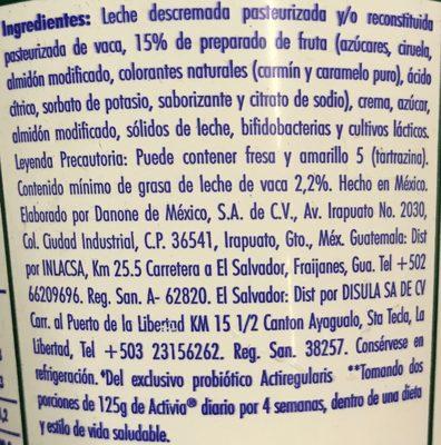 Activia Ciruela Pasa Danone - Ingrediënten