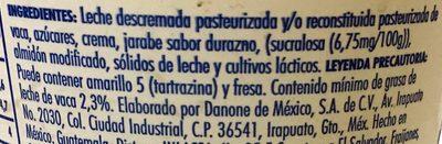 Danone Yoghurt de Durazno sin trozos - Ingrediënten