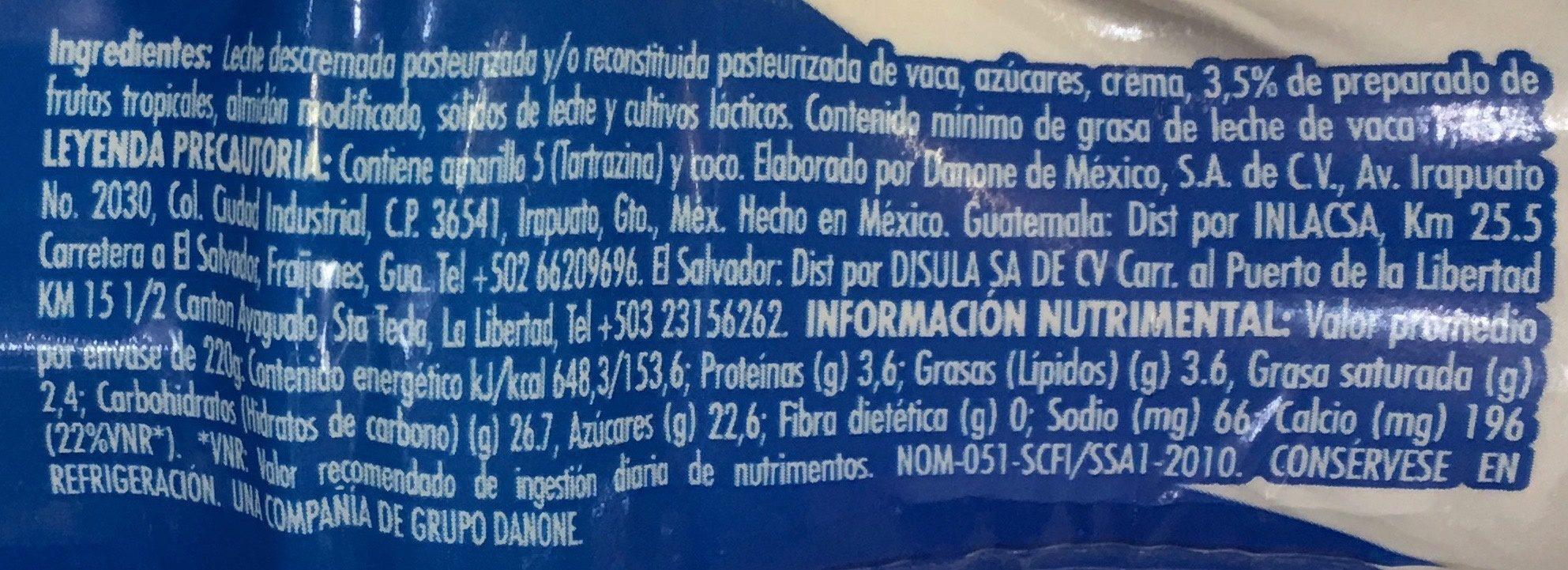 Danone Piña Coco Mango - Voedingswaarden