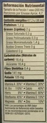 Alimento líquido con almendra sabor chocolate - Información nutricional - es