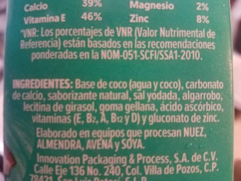 Silk leche de coco - Ingredientes - es
