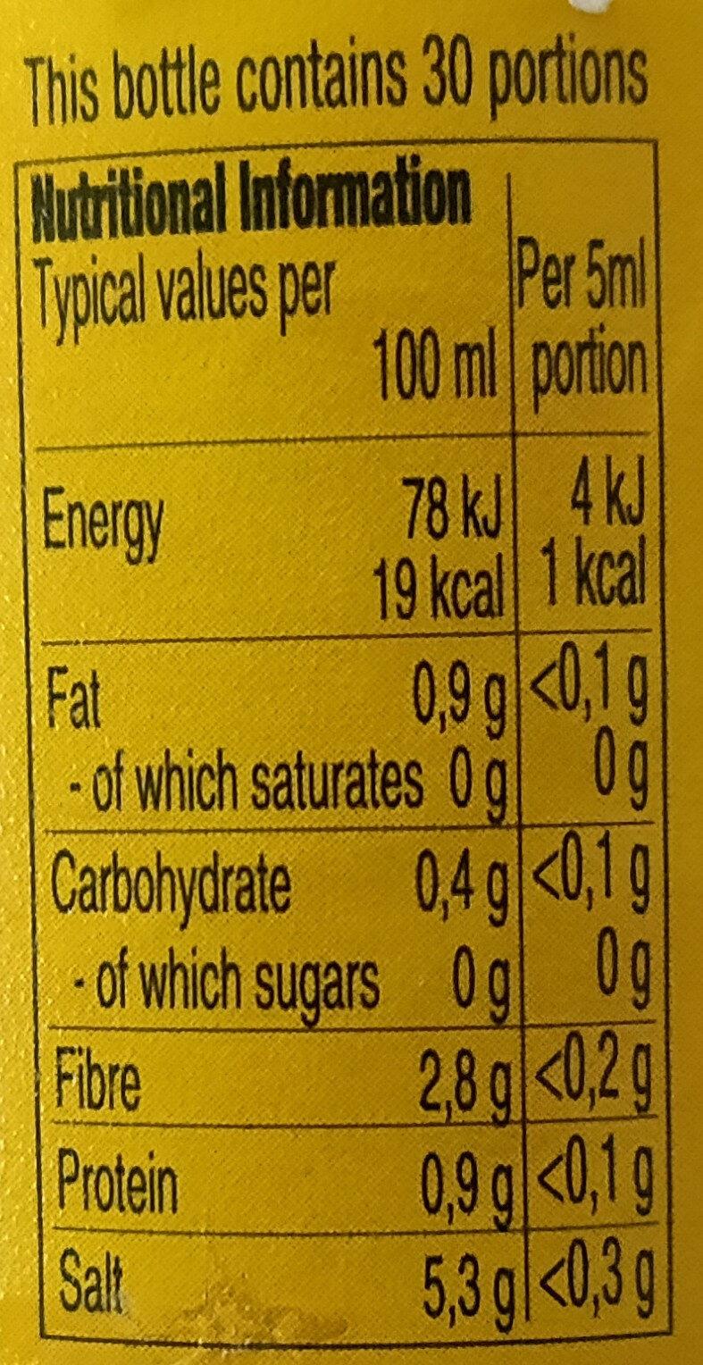 Cholula Hot Sauce Original - Nutrition facts