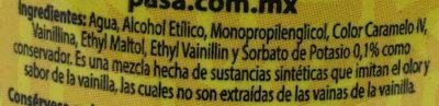 Saborizante artificial vainilla - Ingrediënten - es