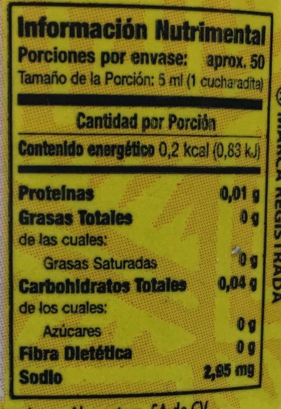 Saborizante artificial vainilla - Voedingswaarden - es