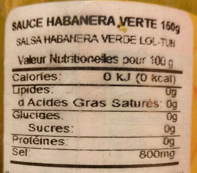 Salsa Loltun Habanero Verde 150gr - Información nutricional - es
