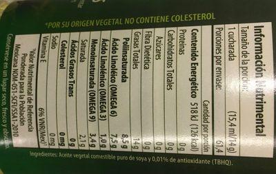 Aceite de soya Nutrioli - Ingrediënten